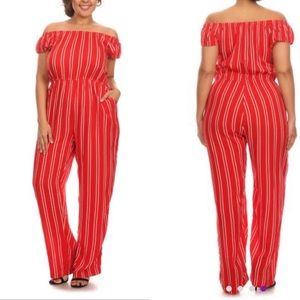 C.O.C. Red striped jumpsuit 1XL